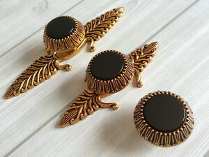 Black Glass Gold Brass Dresser Knob Drawer Pulls Cabinet Door Knob ...