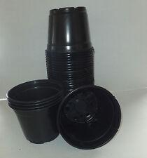 Set of 50 - 6 inch round black plastic nursery pots plants azalea pot Landmark
