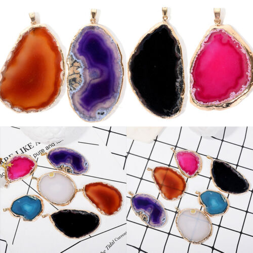Colorful Natural Onyx Druzy Geode Agate Slice Stone Necklace Pendant Jewelry