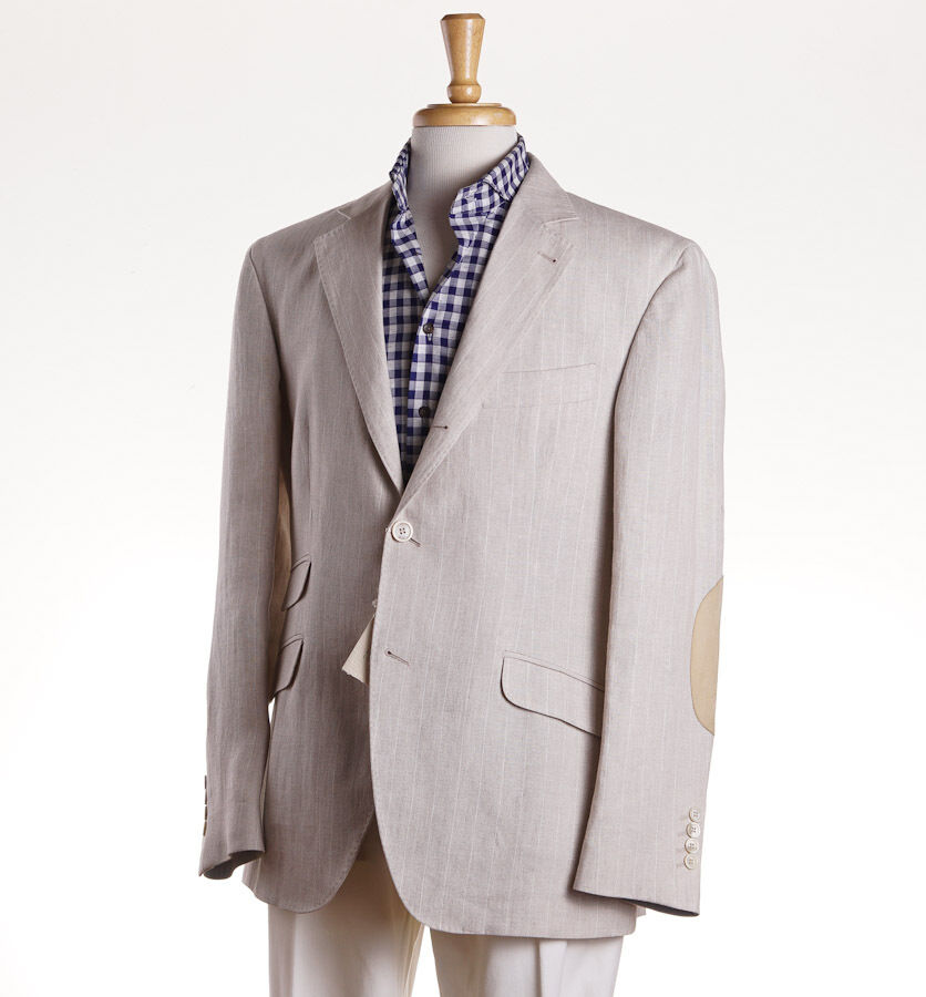NWT 3295 BRUNELLO CUCINELLI Beige Linen Sport Coat w/ Suede Elbow Patches 40 R