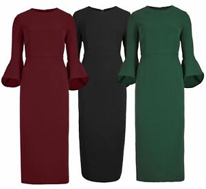 NEW-Ex-M-amp-S-Autograph-Womens-Fluted-Sleeve-Pencil-Dress-76-Off-Size-6-8-10