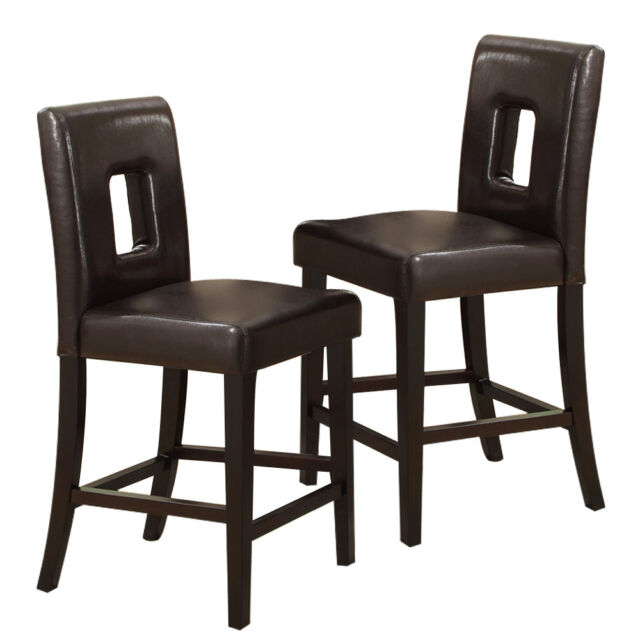 "Set of 2 Dining 24""H High Side Chairs Faux Leather Wooden Legs in Dark Brown"