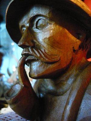 Alte Holz Skulptur Bauer Senner Alter Mann Mit Pfeife Portrait Büste 12 Cm Hoch 100% Hochwertige Materialien