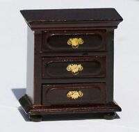 Dollhouse Furniture - vintage Look Mahogany 3 Drawer Night Stand