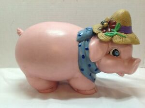 Vintage-Ceramic-Pink-Piggy-Coin-Bank-With-Straw-Hat