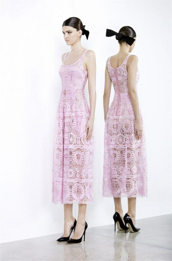 Alex perry   pilar sinlget folk lace pink dress size  6 new