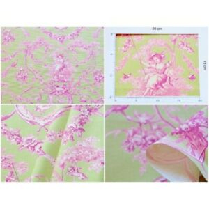 Coupon-fabric-toile-de-jouy-ludivine-rose-background-anis