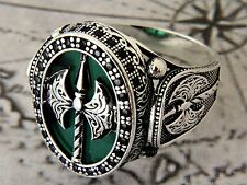War Axe Turkish Green Agate Gemstone 925 S Sterling Silver  Mens Ring
