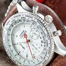 RETRO DETOMASO FIRENZE CHRONOGRAPH MENS WATCH MATTE S-STEEL CUFF LEATHER NEW