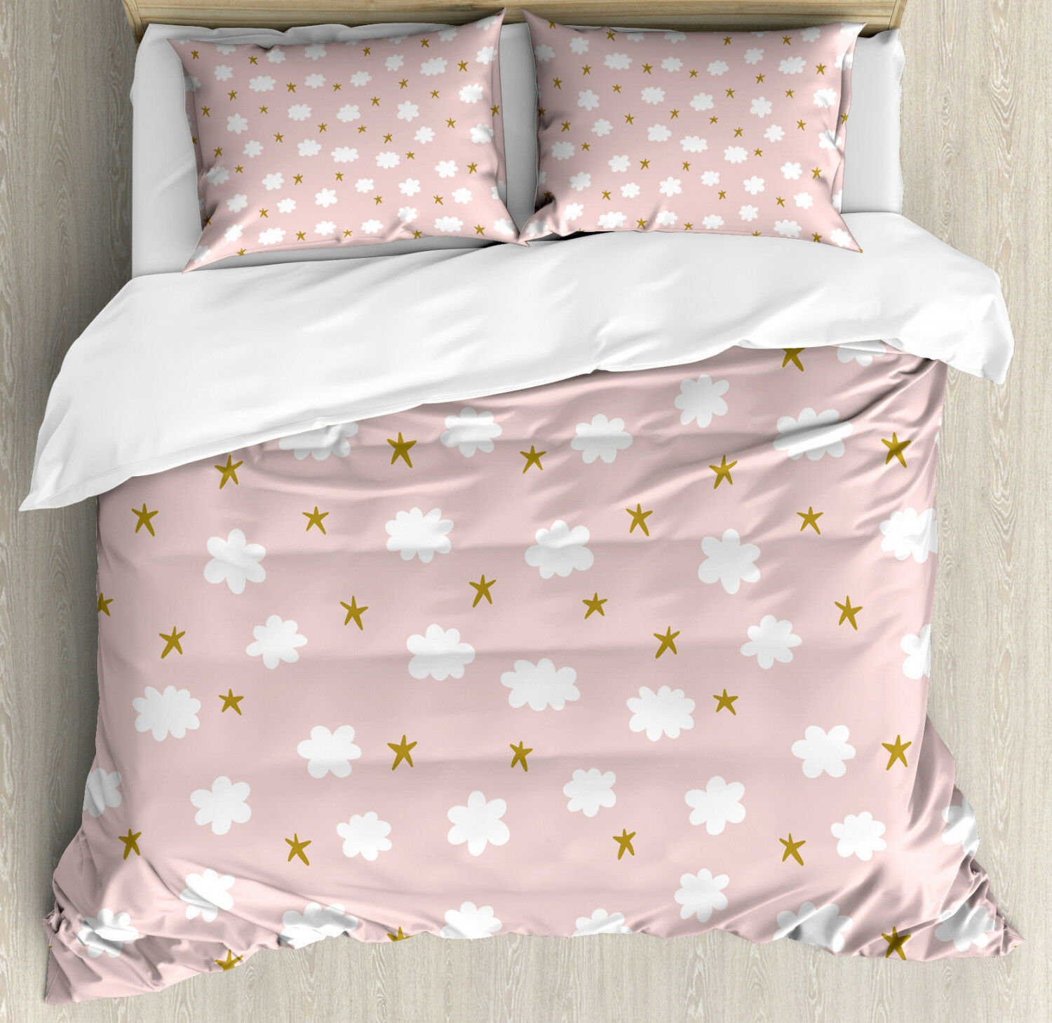 Baby Duvet Cover Set with Pillow Shams Stars and Clouds Pattern Print