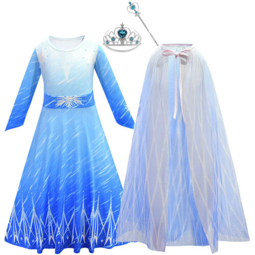 Cape Childrens Kids Girls Queen Elsa 2 Fancy Costume Dress Accessories Set