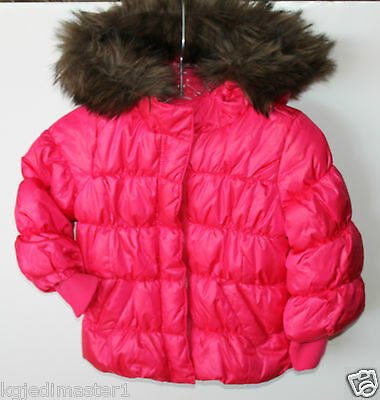 baby Gap NWT Girl's 12 18 24 Pink Warmest Coat Puffer Coat Fur Trim