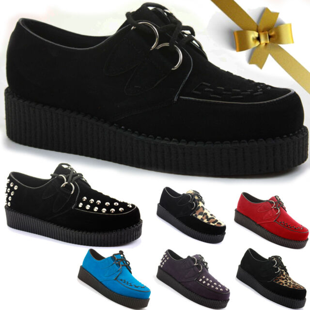 WOMENS LADIES FLAT WEDGE PLATFORM LACE UP GOTH PUNK CREEPERS SHOES BOOTS SIZE