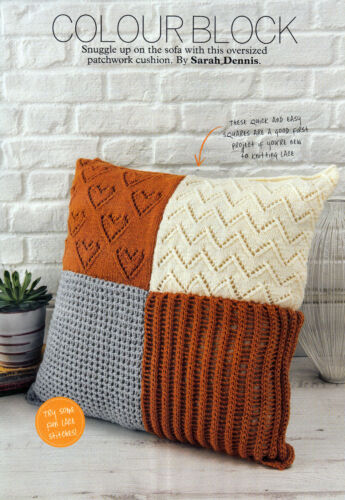 KNITTING PATTERN HOME OVERSIZED LACY PATCHWORK CUSHION COVER QUICK EASY SKM AUA