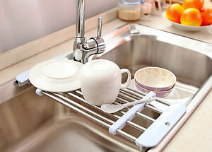 Kitchen Sink Dryer Dish Plate Drying Storage Rack Holder Fruit ...