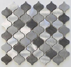 Image Is Loading Uptown Brushed Aluminum Arabesque Mosaic Tiles Kitchen Backsplash