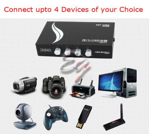 US SHIP Mini 4 Ports USB Printer Scanner Sharing Share Switch Splitter Box Hub