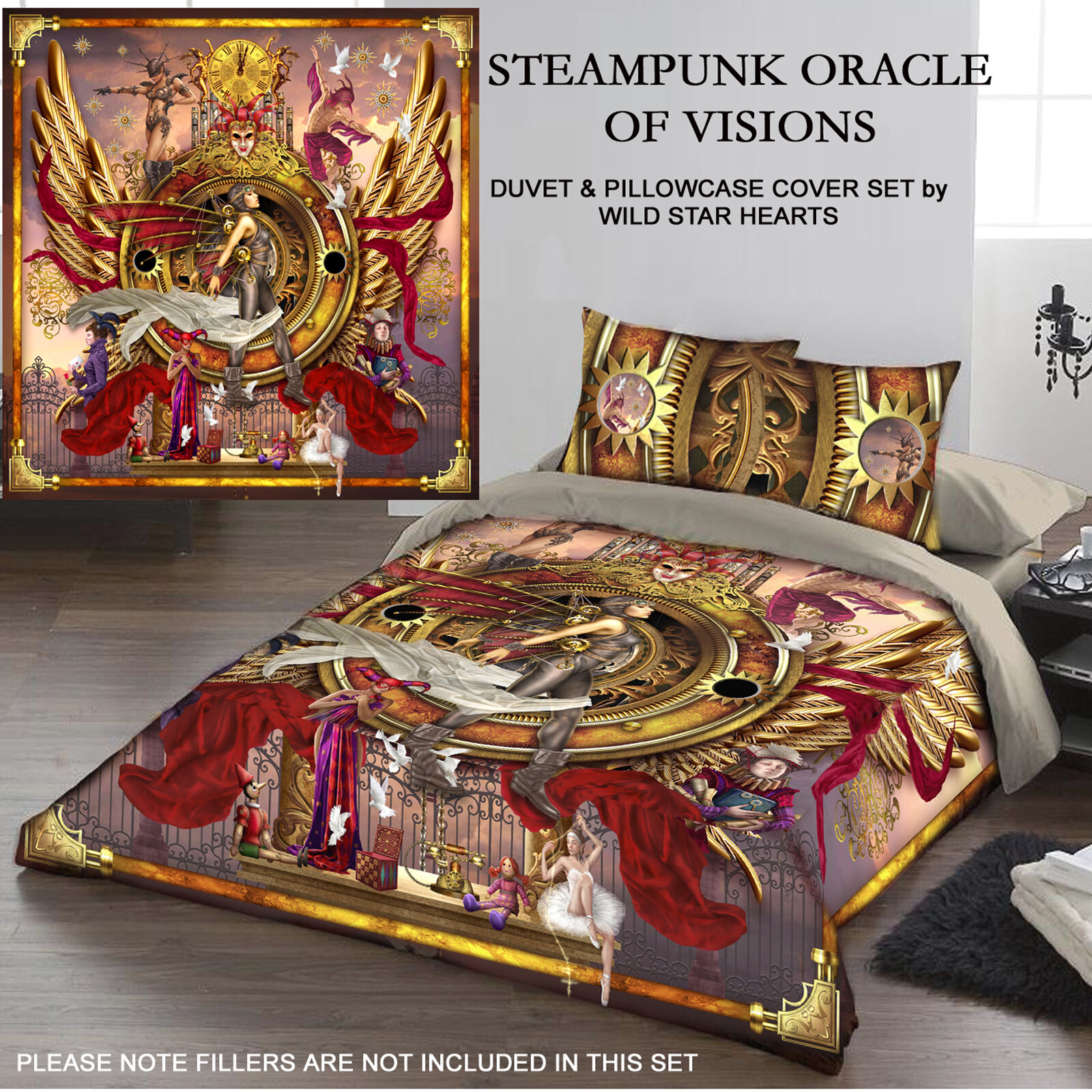 STEAMPUNK ORACLE  - Duvet and Pillows Covers Set   Size fit   Double Bed