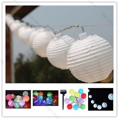 Solar Power 10 LED Light Fairy String Lantern #G Multi-Color Lamp Garden Outdoor