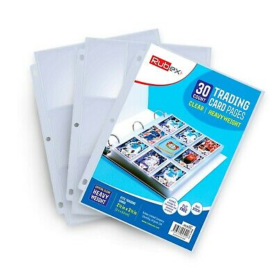 30 Clear Heavyweight Trading Card Holders 9 Pocket Card Holder