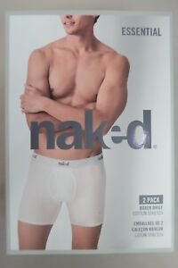 Naked-Mens-Essential-2-Pack-Cotton-Boxer-Brief-Underwear-sizes-Small-XL-White