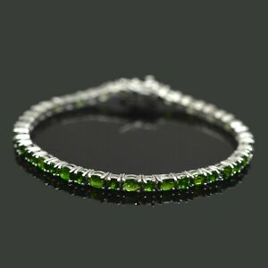 925-Sterling-Silver-5x3-mm-Natural-Chrome-Diopside-Gemstone-Tennis-Bracelet