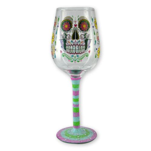 Glitter Live Love Wine Hand Painted Wine Glass with Rhinestones Sugar Skull