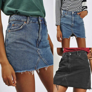 Women-039-s-High-Waist-Casual-A-Line-Denim-Distressed-Bodycon-Short-Jean-Mini-Skirt