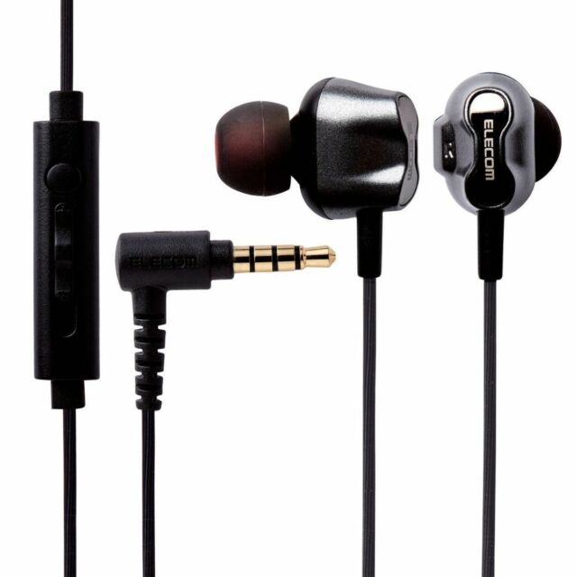 ELECOM EHP-CS2D3510 BK In-Ear Headphones Black with Microphone NEW from Japan