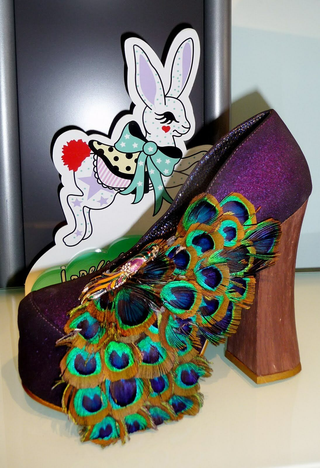 IRREGULAR CHOICE BEST OF ALL SHOES PURPLE 6.5 PUMPS PEACOCK FEATHERS NIB