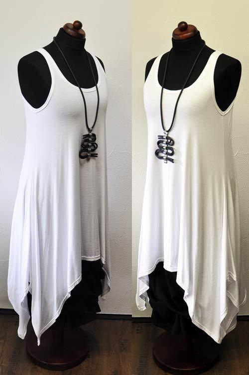 Layered Look a Line Intermediate Coupling-Dress White Jersey 44,46,48,50,XL,XXL