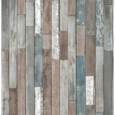 REALISTIC OLD RECLAIMED WOOD PANEL WOODEN PLANK WALL FEATURE WALLPAPER FD40888
