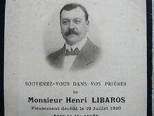 Image Mortuaire : Henri LIBAROS, 19 Juillet 1926.