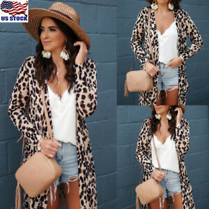 Womens-Leopard-Kimono-Cardigan-Open-Front-Boho-Camo-Long-Sleeve-Long-Maxi-Jacket