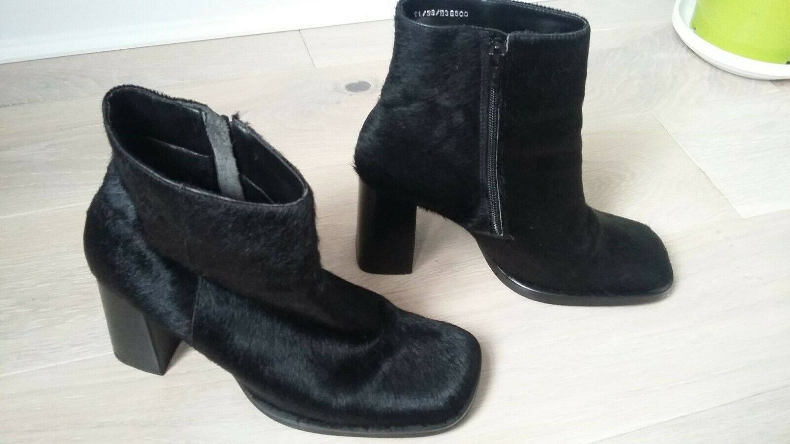 LADIES FAUX FUR ANKLE FAITHS BOOTS CHUNKY BLOCK HEELS  SIZE UK 6