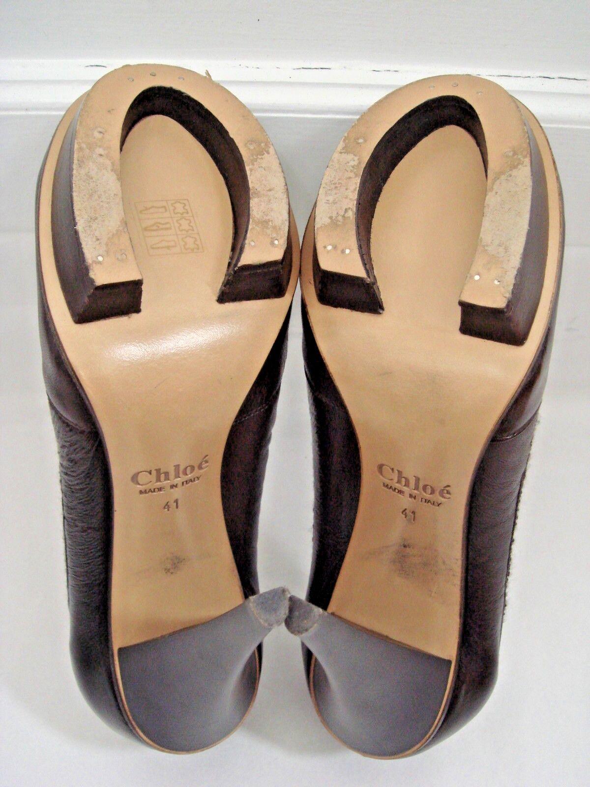 CHLOE Braun leather Italian platform heels pumps Italian leather size 41 931ca6