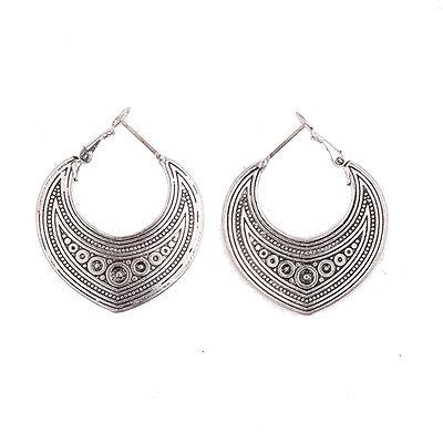 Bohemian Boho Style Ethnic Carved Round Silver Ear Women Dangle Hoop Earrings