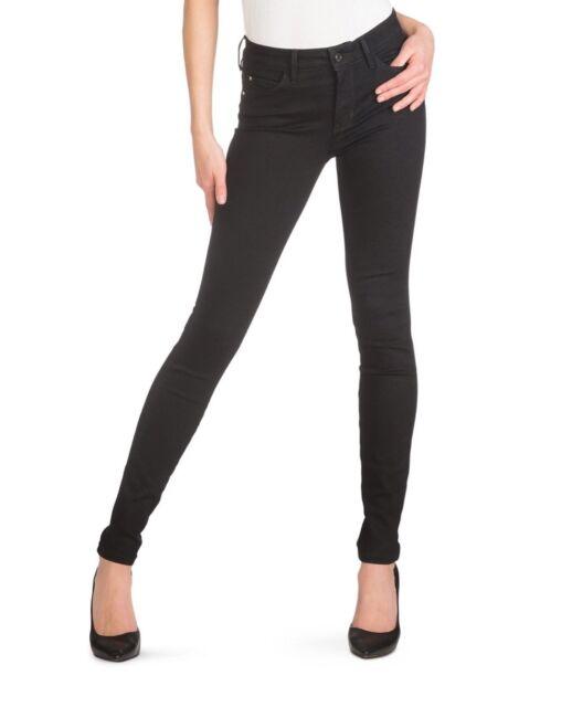 Guess Women's Mid Rise Curve X Skinny Jeans Black Super Stretch Denim Size 27
