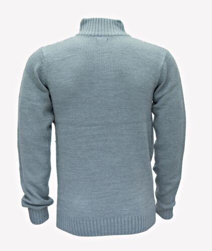 Da Uomo Collo alto Maglia Spessa Lana Button maglione invernale 3 COLORI smartcasual Caldo Top