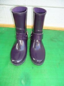 Michael-Kors-Purple-Rubber-Rain-Boots-MK-Silver-Logo-Women-SZ-8