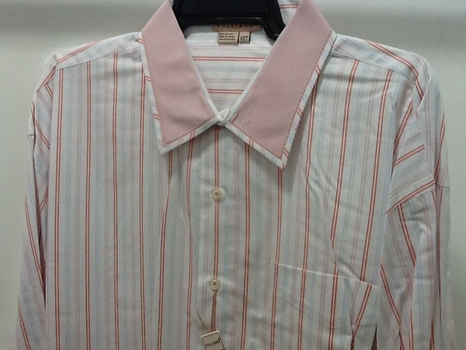 Tulliano Men's Designer Shirt - pink STRIPPED BIG & TALL SIZES NEW & TAGS