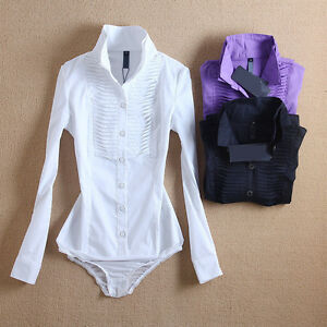 Ladies-Office-Shirts-Top-Elegant-Slim-Classic-Long-Sleeve-Formal-Bodysuit-Blouse