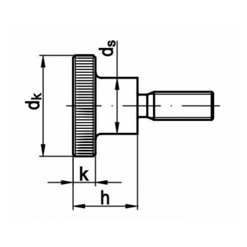 10 x DIN 464 Rändelschrauben M 4 x 8 5.8 blank hohe Form