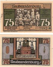 Germany 75 Pfennig 1921 Notgeld Neubrandenburg AU-UNC Banknote