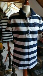 Tommy-Hilfiger-Poloshirt-Blau-Weiss-gestreift-Maritim-Gr-38