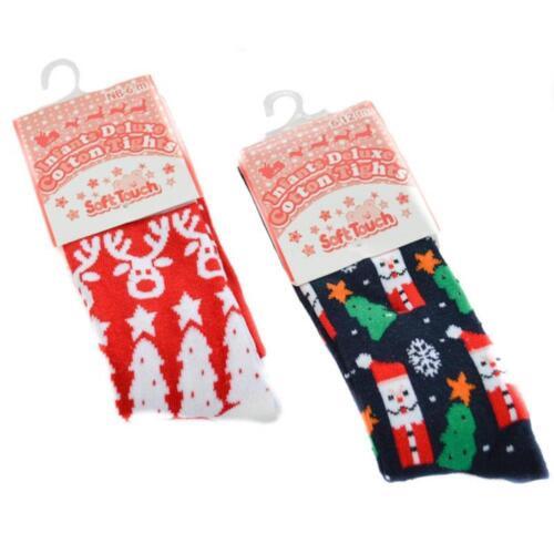 6-12m Reindeer or Santa Design Baby Christmas Deluxe Tights 0-6m