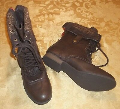 Brown Folded Combat Boots