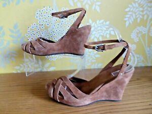 sandale compensée cuir marron 37