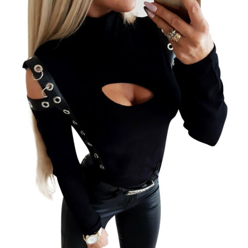 Womens Hollow Turtleneck Long Sleeve T Shirt Casual Slim Punk Gothic Blouse Tops