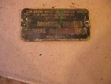 1955 John Deere 70 Rowcrop tractor Original JD Serial Number tag #7022426